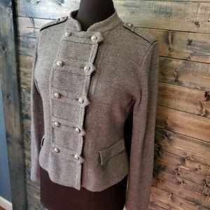 LOFT Grey Military Sweater Buttons Epaulette